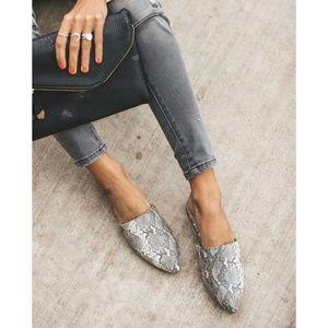 Shoes - Snake Skin Print Mules - NIB
